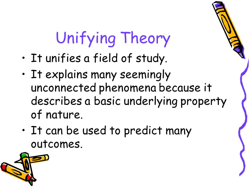 Unifying Theory It unifies a field of study.
