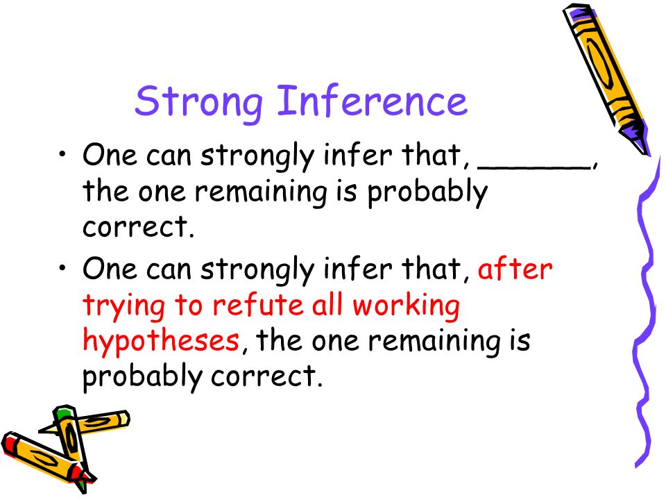 Strong Inference One can strongly infer that, ______, the one remaining is probably correct.