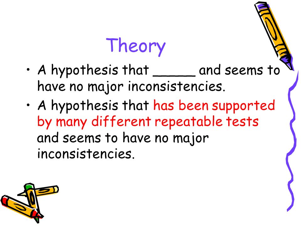 Theory A hypothesis that _____ and seems to have no major inconsistencies.