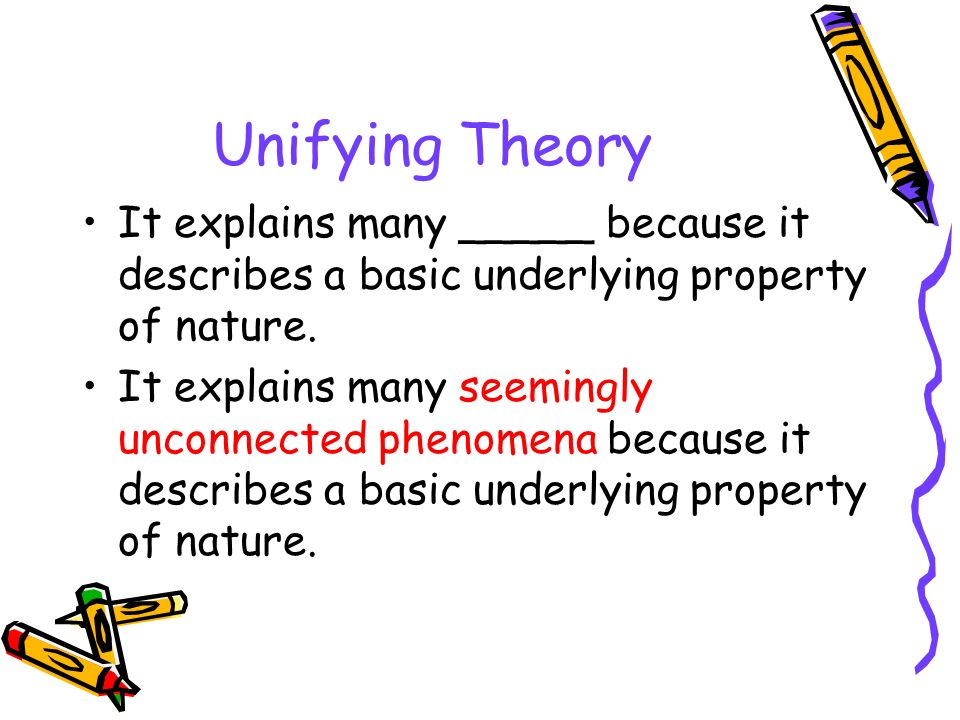 Unifying Theory It explains many _____ because it describes a basic underlying property of nature.
