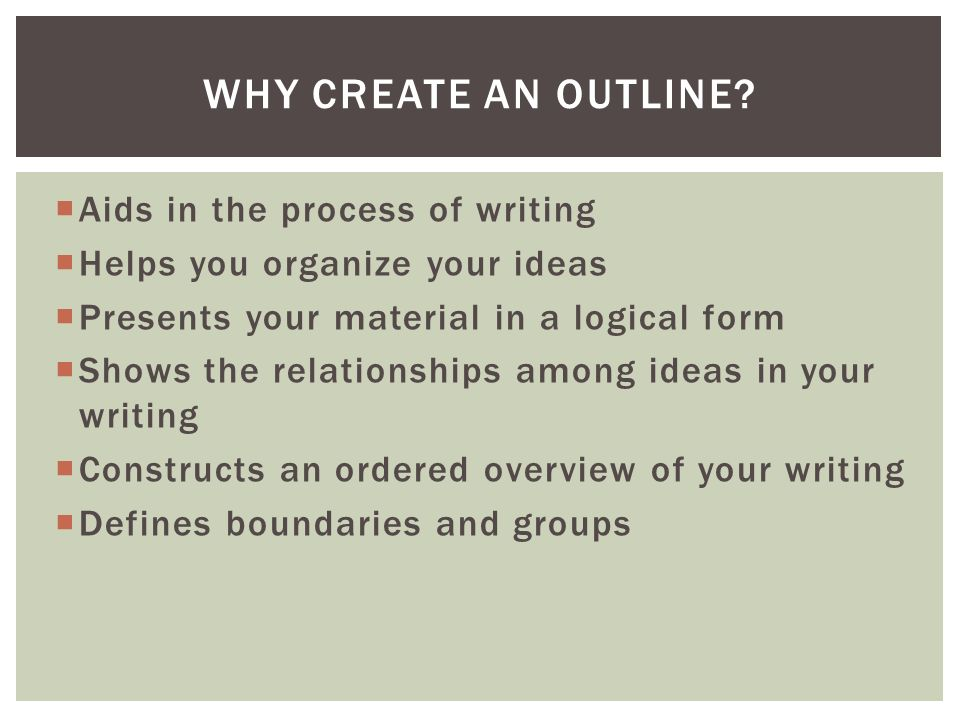 Why Create An Outline Aids In The Process Of Writing