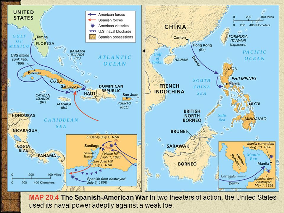 The spanish american war ppt video online download 5 map 204 the spanish american war in two theaters of action the united states used its naval power adeptly against a weak foe gumiabroncs Images