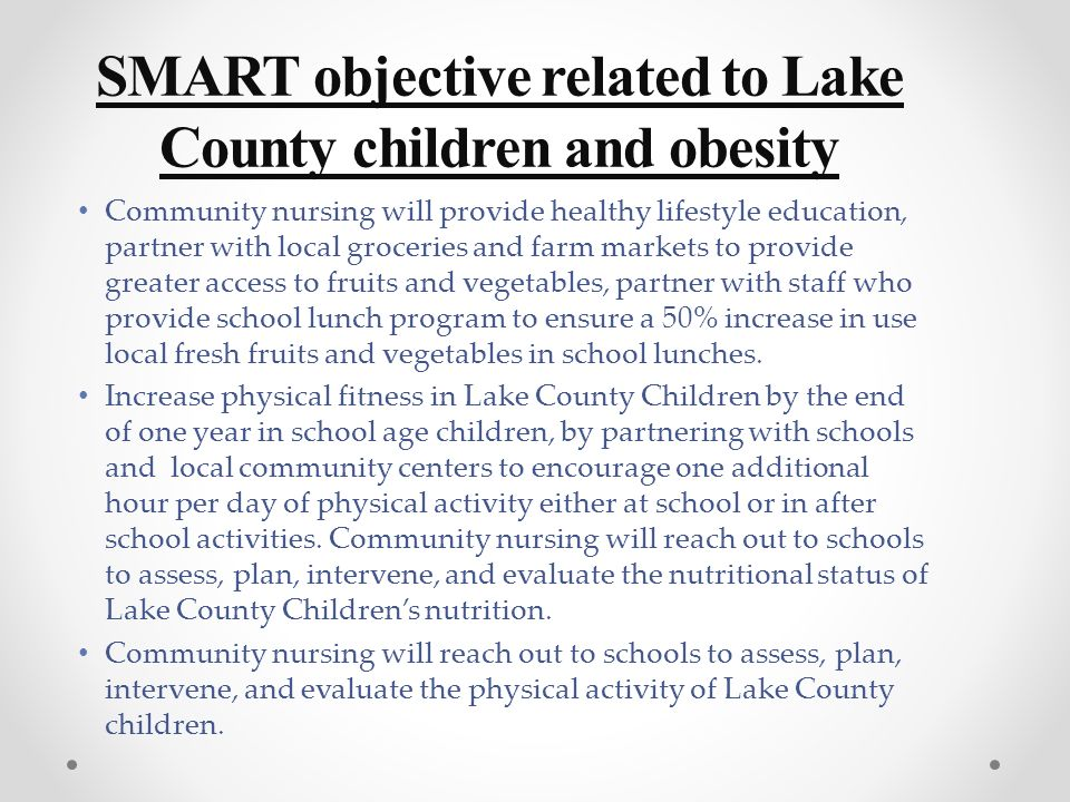Community Plan of Care Group Project ≈≈≈ Obesity and