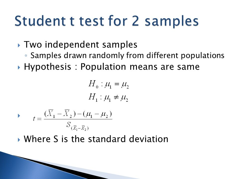 two sample t test chapter ppt download
