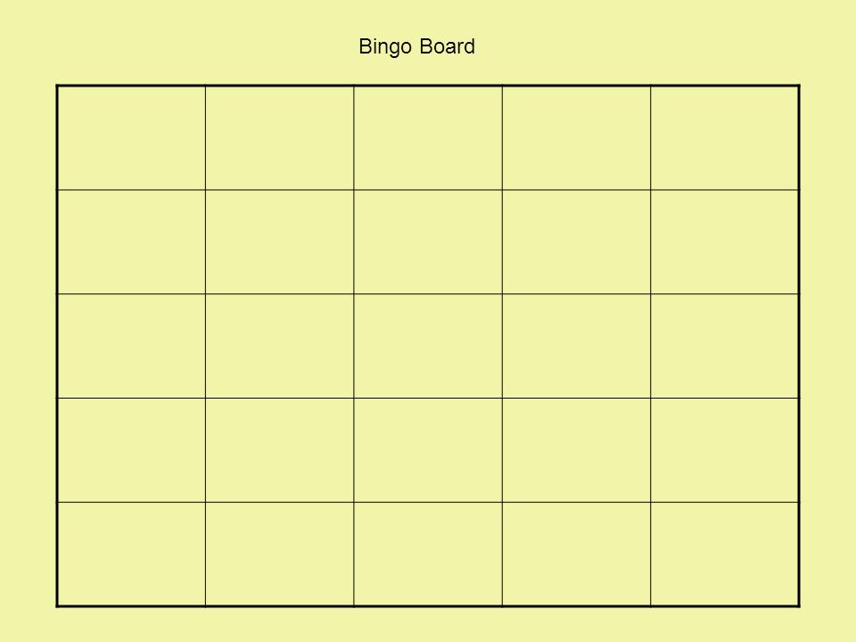 1 bingo board