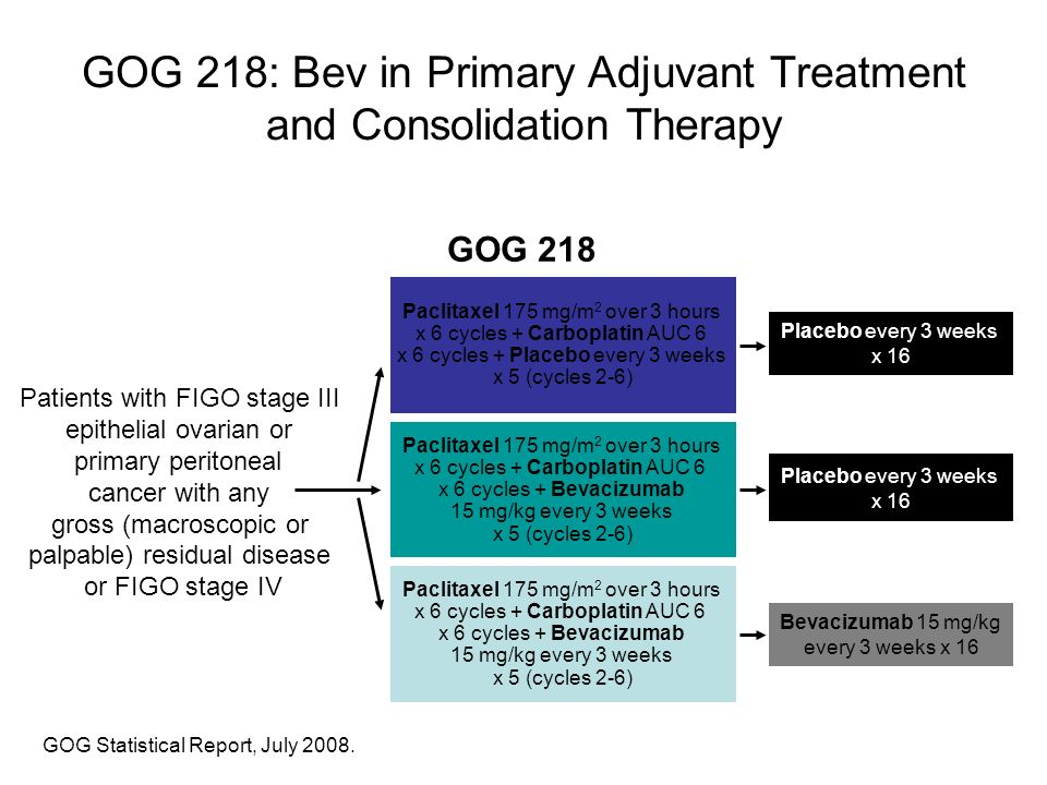 GOG 218: Bev in Primary Adjuvant Treatment and Consolidation Therapy