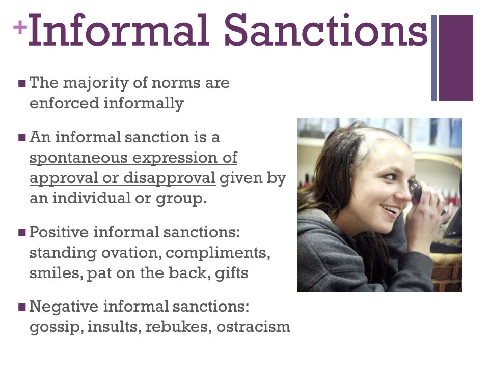 examples of informal negative sanctions