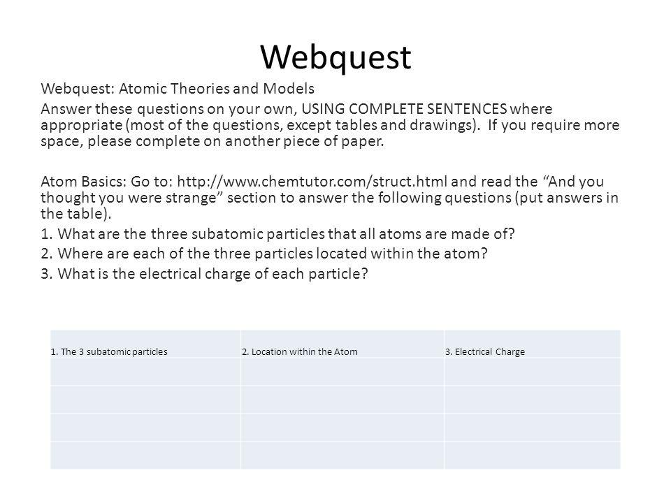 Webquest Webquest Atomic Theories And Models