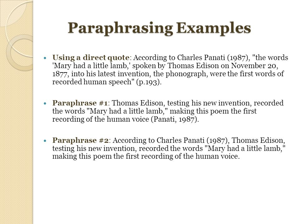 paraphrasing exercise essay Closely in the exercises at the end of the tutorial the general advice: when in  after paraphrasing in your essay, you need to add an in-text citation at the.