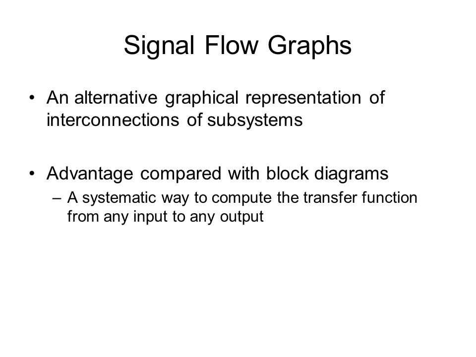 Lec 4 graphical system representations and simplifications ppt signal flow graphs an alternative graphical representation of interconnections of subsystems advantage compared with block ccuart Images