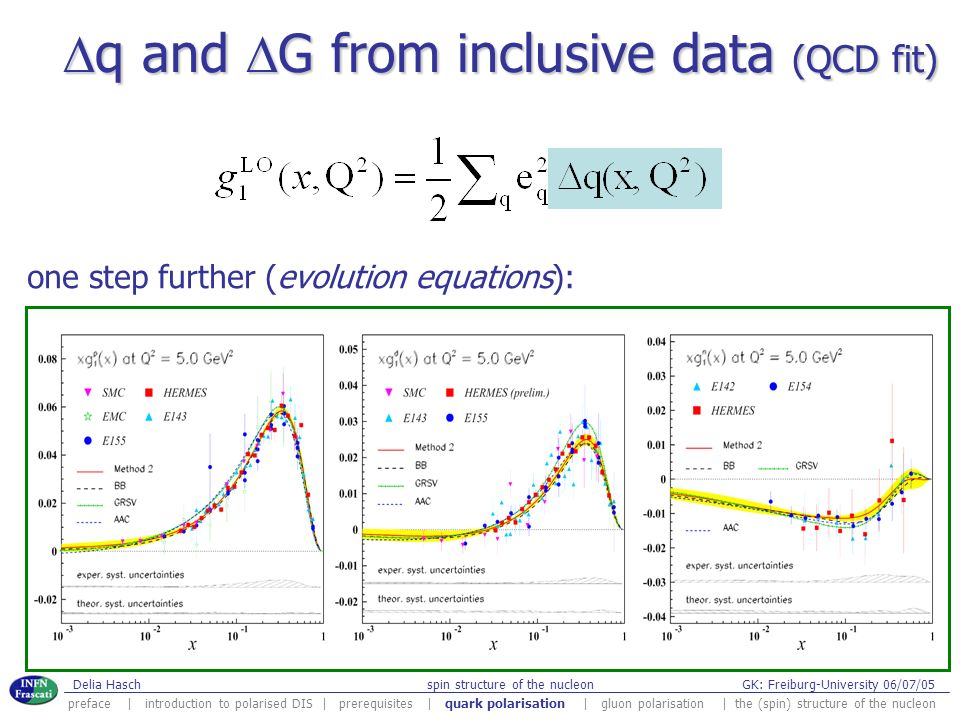 Dq and DG from inclusive data (QCD fit)