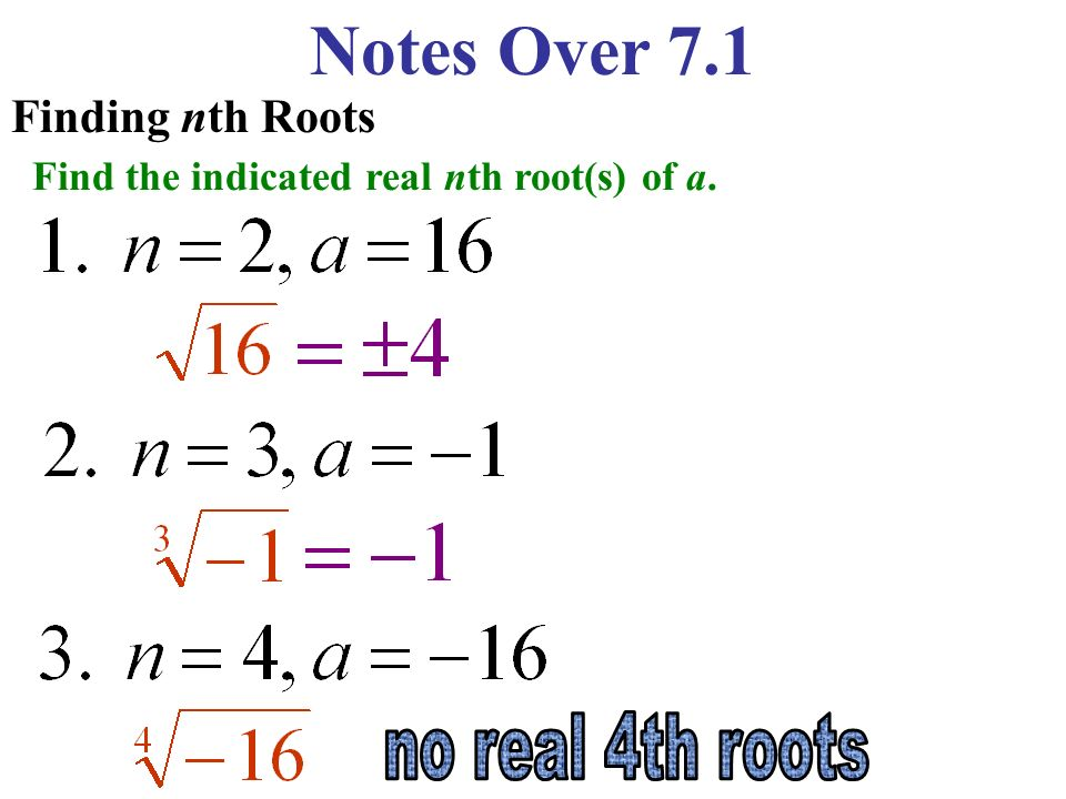 Notes Over 7.1 no real 4th roots Finding nth Roots