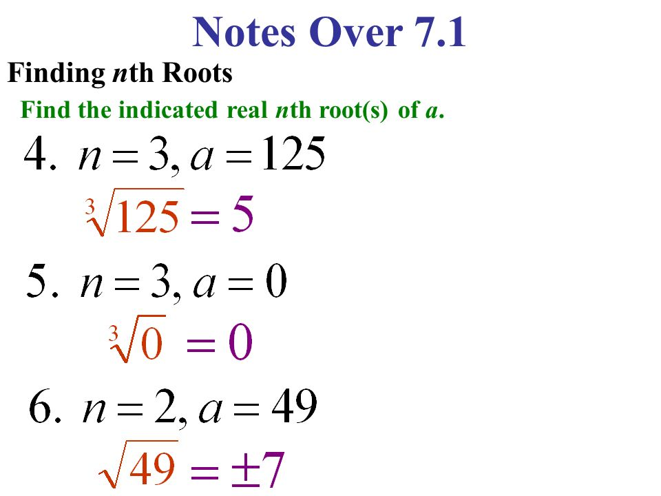 Notes Over 7.1 Finding nth Roots