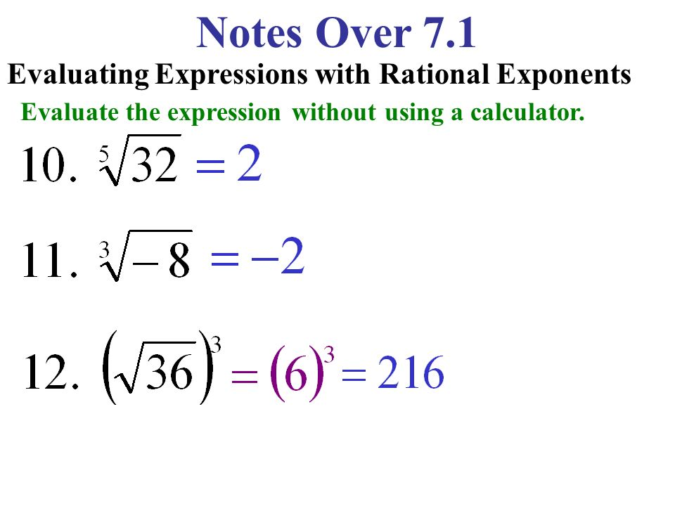 Notes Over 7.1 Evaluating Expressions with Rational Exponents