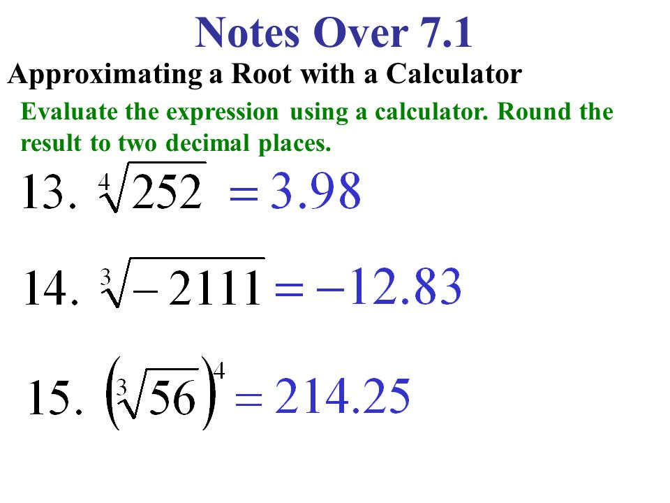 Notes Over 7.1 Approximating a Root with a Calculator