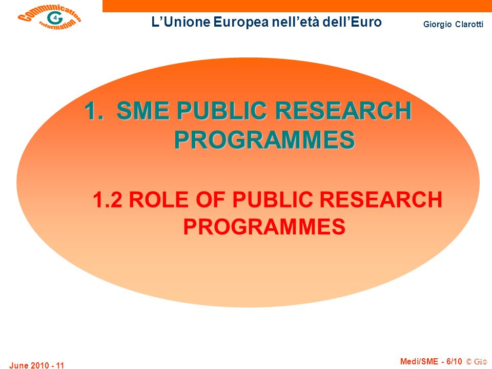 SME PUBLIC RESEARCH PROGRAMMES 1.2 ROLE OF PUBLIC RESEARCH PROGRAMMES