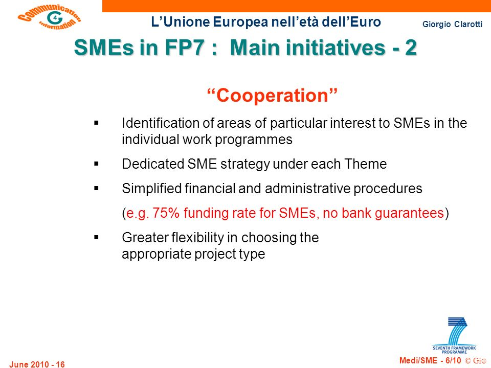 SMEs in FP7 : Main initiatives - 2