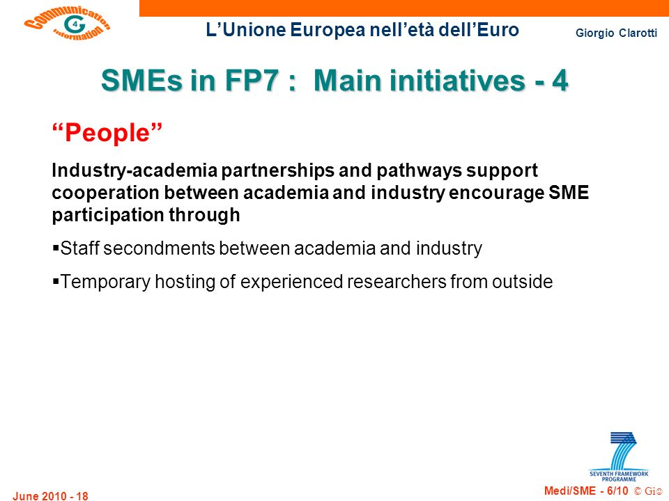 SMEs in FP7 : Main initiatives - 4