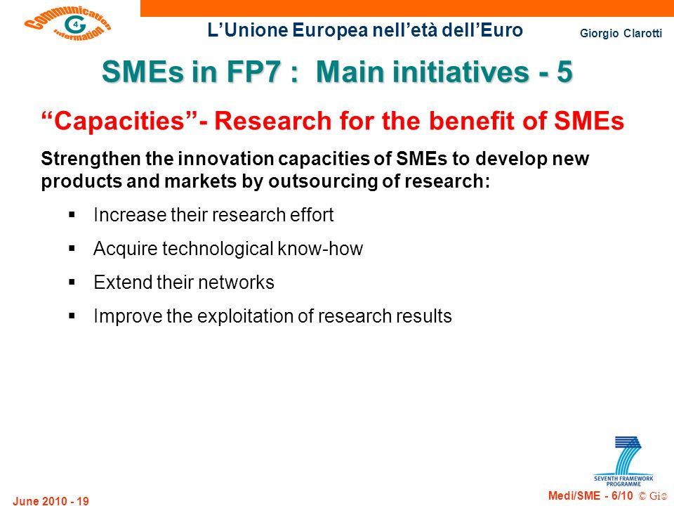 SMEs in FP7 : Main initiatives - 5
