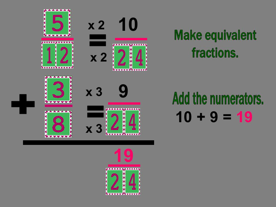 = 19 = + = x 2 x 2 x 3 x 3 Make equivalent fractions.