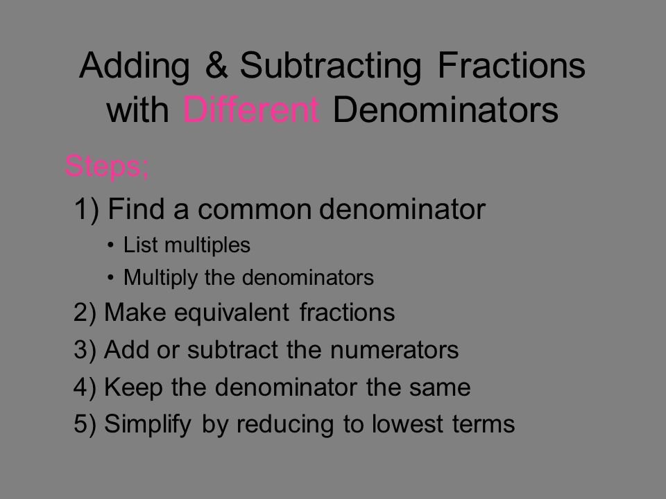 how to find equivalent fractions with common denominator