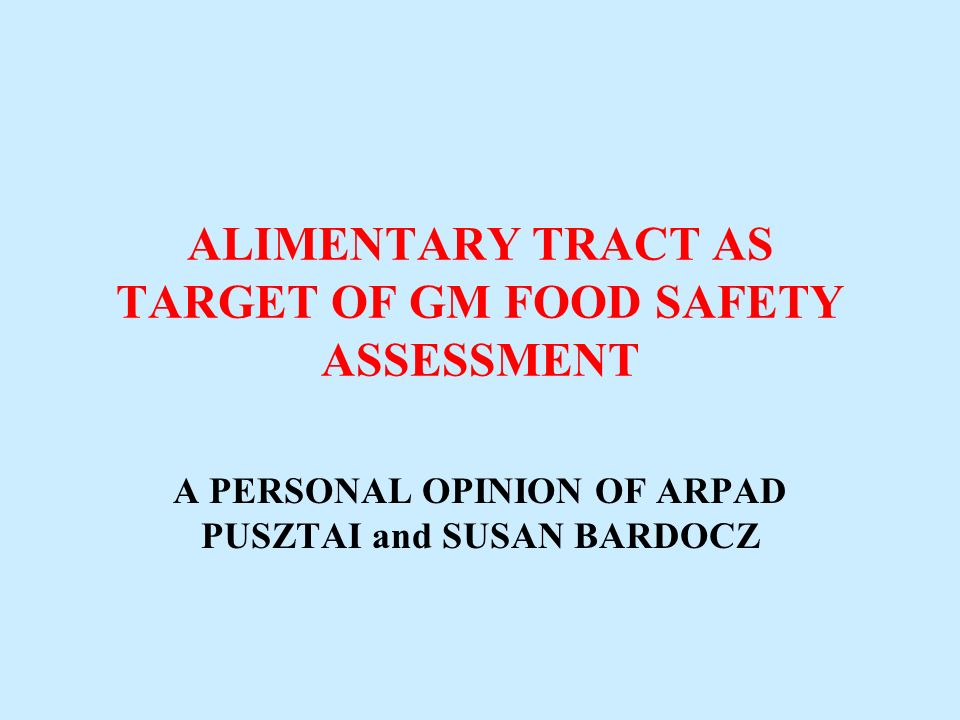 ALIMENTARY TRACT AS TARGET OF GM FOOD SAFETY ASSESSMENT