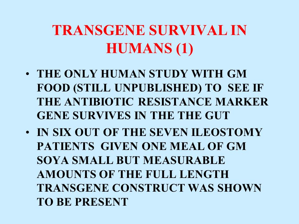 TRANSGENE SURVIVAL IN HUMANS (1)