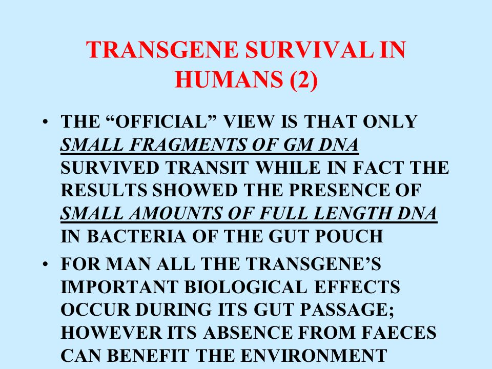 TRANSGENE SURVIVAL IN HUMANS (2)