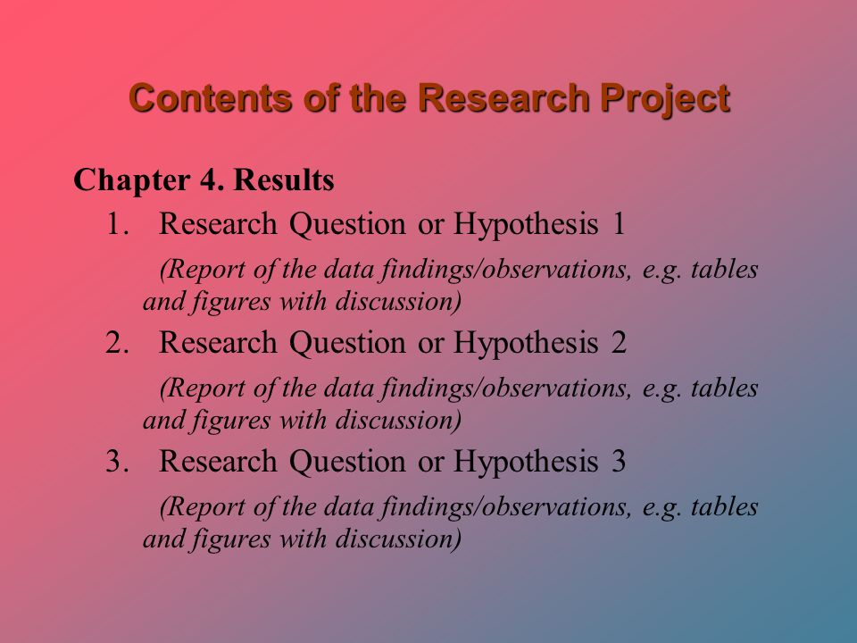 Research Project Report | The Research Project Contents And Format Ppt Video Online Download