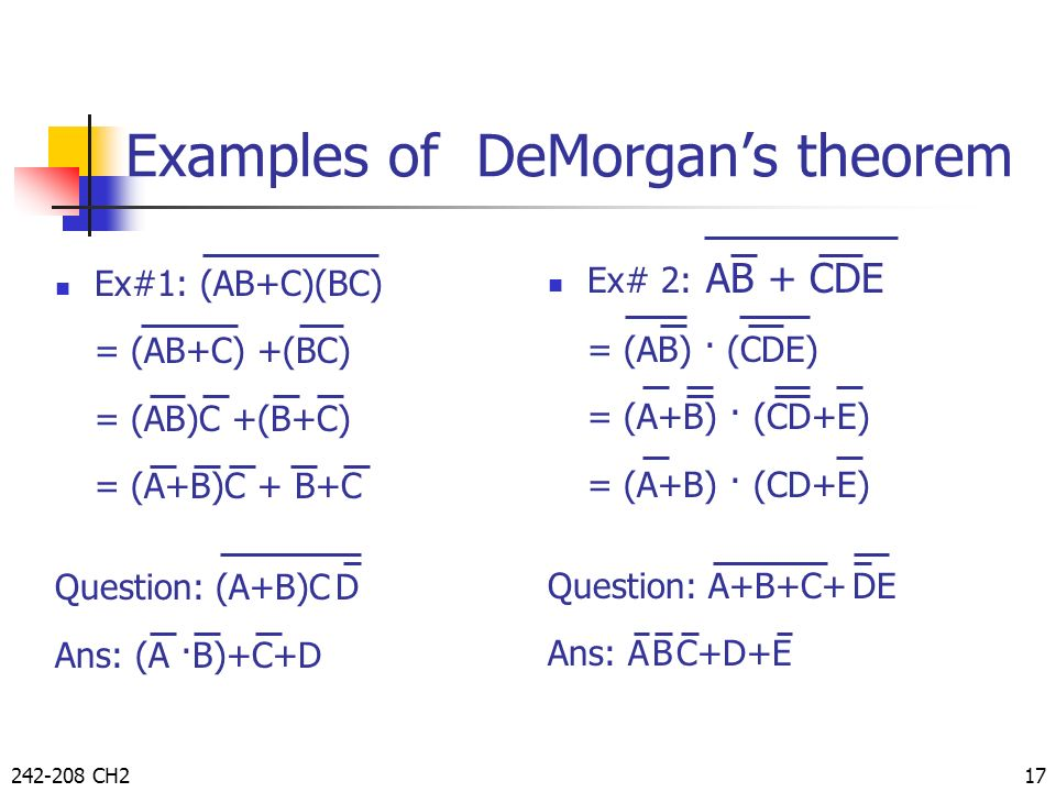 Examples of DeMorgan's theorem