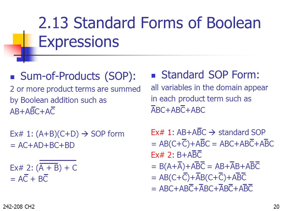 2.13 Standard Forms of Boolean Expressions