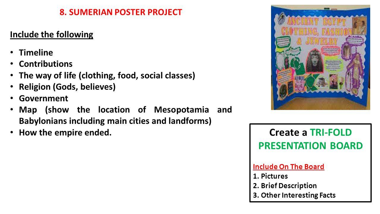 8 sumerian poster project create a tri fold presentation board