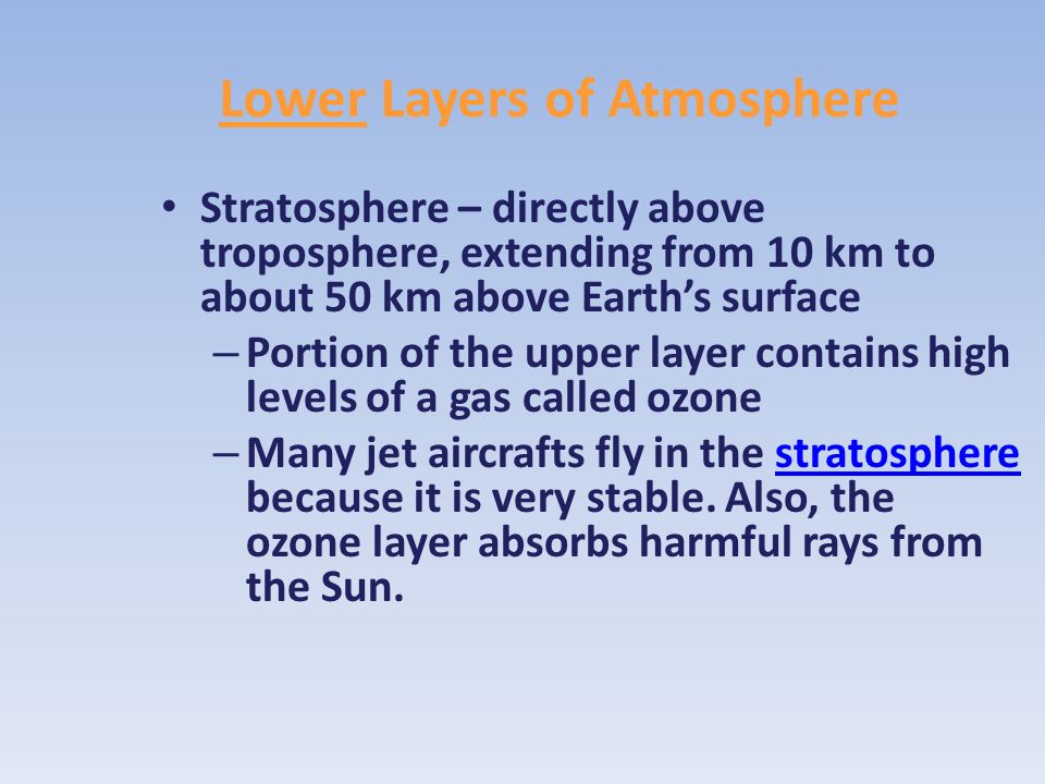 Lower Layers of Atmosphere