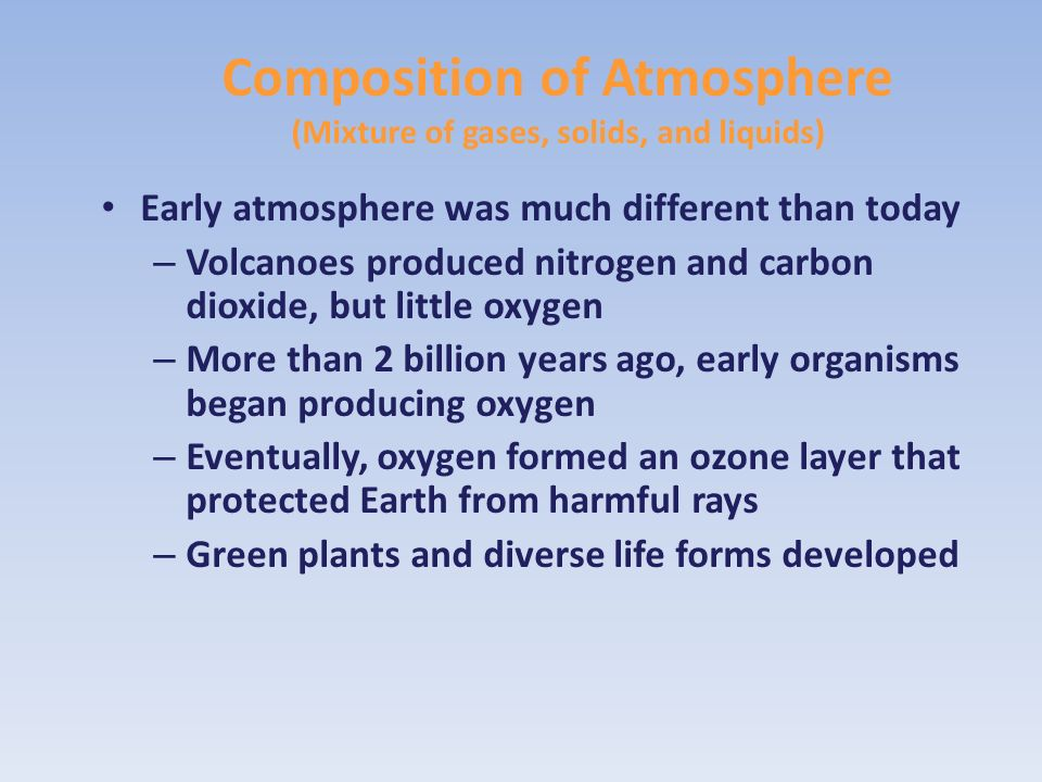 Composition of Atmosphere (Mixture of gases, solids, and liquids)