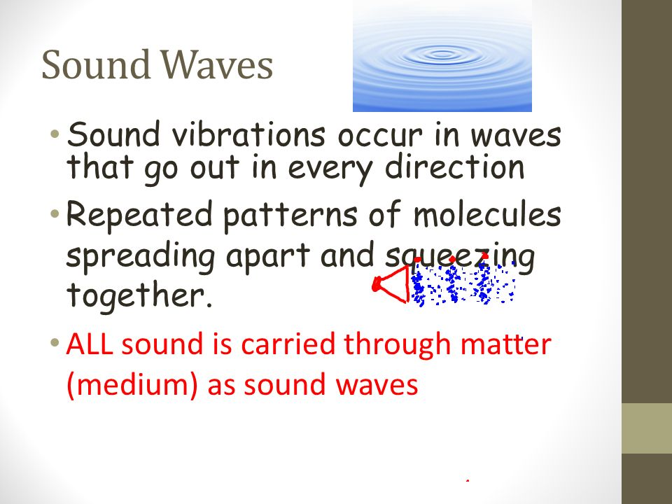 Sound Waves Sound vibrations occur in waves that go out in every direction. Repeated patterns of molecules spreading apart and squeezing together.