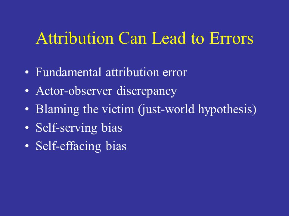 Attribution Can Lead to Errors
