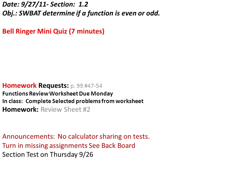 Obj Swbat Determine If A Function Is Even Or Odd Ppt Video. Obj Swbat Determine If A Function Is Even Or Odd. Worksheet. Worksheet On Odd And Even Functions At Clickcart.co