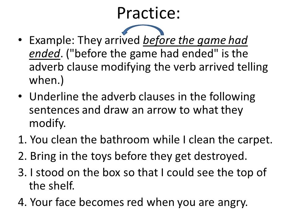adverb clause examples sentences