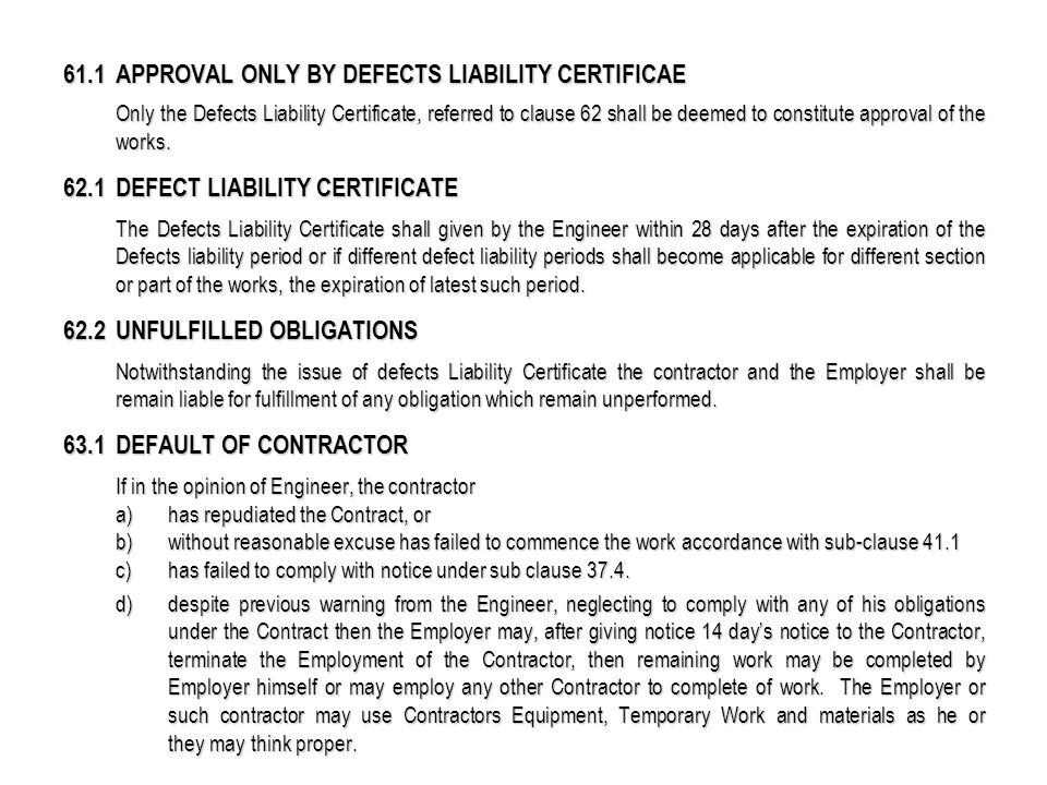 defects certificate