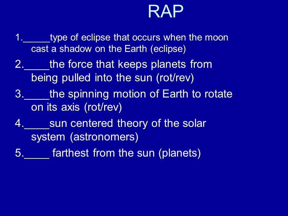 Rap 1type Of Eclipse That Occurs When The Moon Cast A Shadow