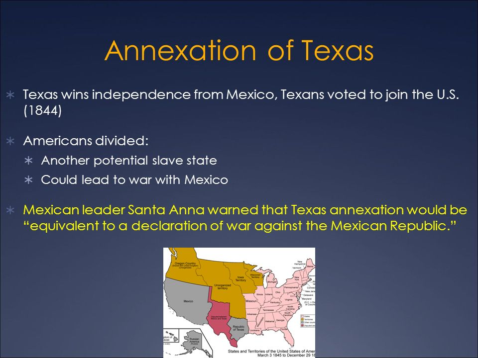 annexation of texas the lone Convoluted plot about the annexation of texas into the union, it involves the opposing forces of gable and broderick crawford in a fight to see whether texas will become a state, or an independent republic.