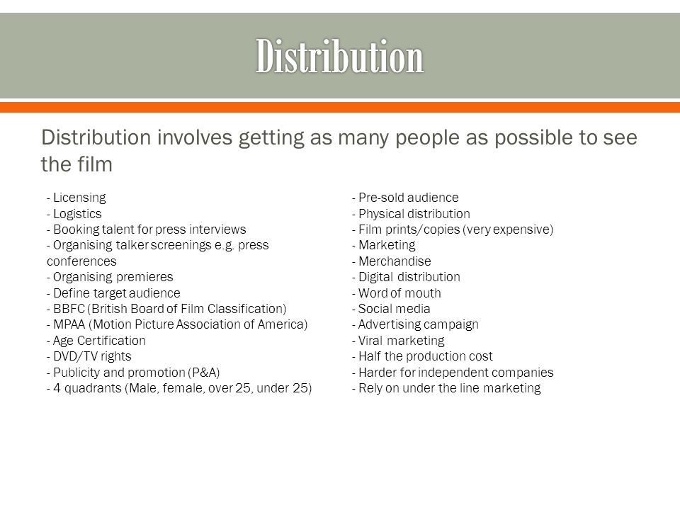 Production, Distribution and Exhibition - ppt video online