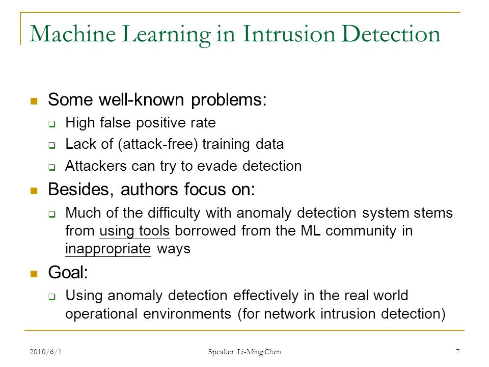 Robin Sommer, Vern Paxson IEEE Security & Privacy, ppt video