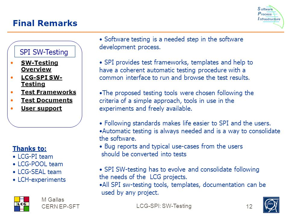 LCG-SPI: SW-Testing LCG AppArea internal review (20/10/03) - ppt