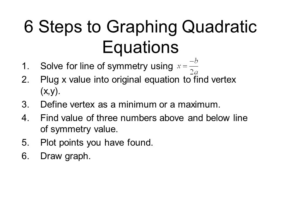 6 Steps to Graphing Quadratic Equations
