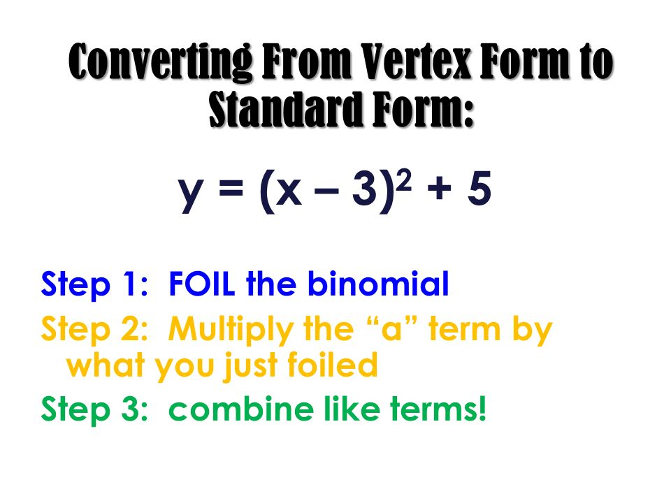 Converting From Vertex Form to Standard Form: