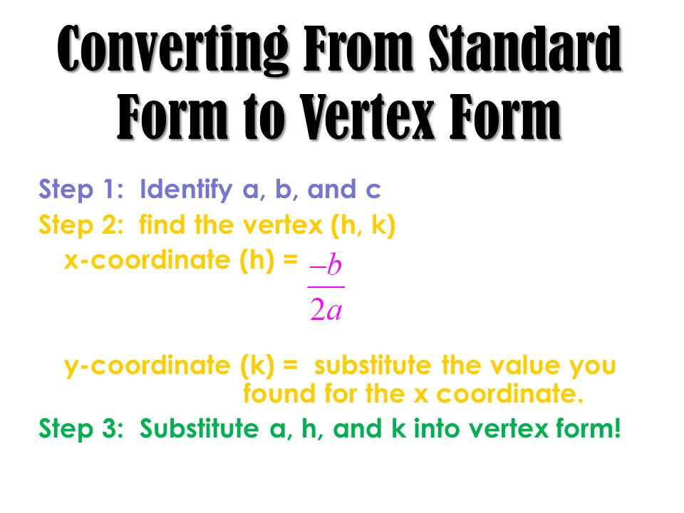 Converting From Standard Form to Vertex Form