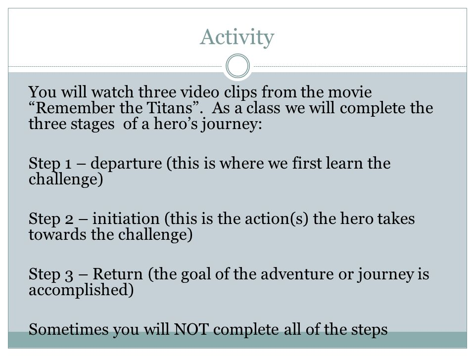 The Challenge Of The Heros Journey Ppt Download