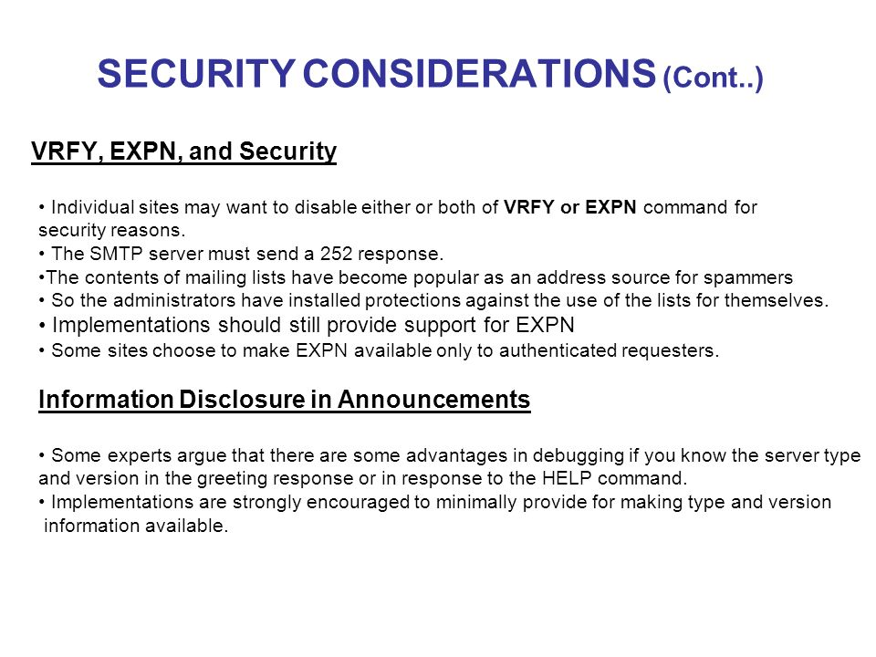 Simple mail transfer protocol crypto2006 cmpe ppt video online download 20 security considerations m4hsunfo