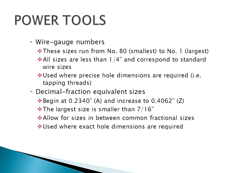 Power tools electric drills ppt video online download power tools wire gauge numbers decimal fraction equivalent sizes greentooth Choice Image